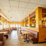 Pancake House seating with booths at Summit Inn